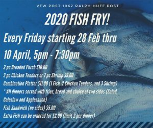 Cancelled - Lent Fish Fry @ VFW Post 1062
